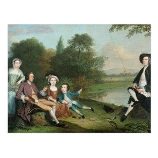 Eine Familie der Angler, 1749 Postkarte
