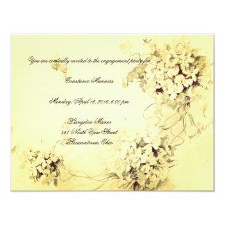 Eine gelbe Blumen-Verlobungs-Einladung 10,8 X 14 Cm Einladungskarte