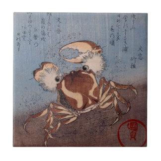 Eine Krabbe auf der Küste durch Utagawa Kunisada Fliese