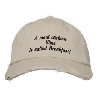 Eine Mahlzeit ohne Wein, lustiger gestickter Hut Bestickte Caps