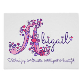 Eine Monogrammkunst Abigail-Mädchen nennen Poster