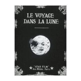 Eine Reise zum Mond-Vintagen Retro französischen Leinwanddruck