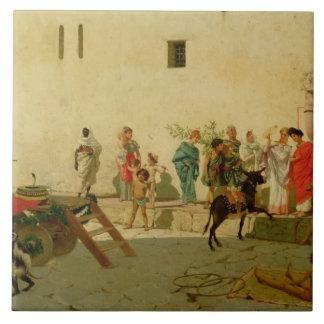 Eine römische Straßen-Szene mit Musikern und einem Keramikfliese