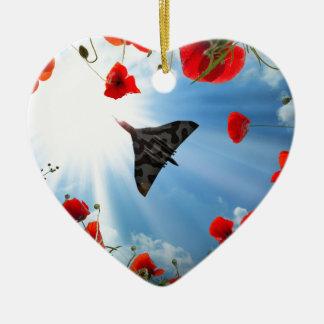 Eine Vulcan Mohnblume Keramik Herz-Ornament
