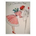 Eine Weihnachtsanmerkungs-Vintage Retro Postkarte