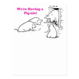 Einen lustigen Schwein-Cartoon des Picknick-haben Postkarten