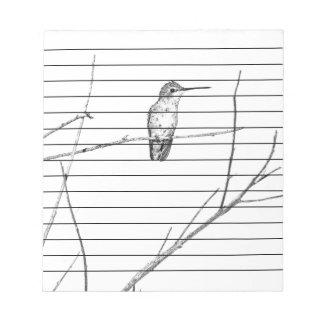 Einfach ein Kolibri auf einem Stock Notizblock