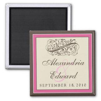 Einfach eleganter Gastgeschenk Hochzeits-Magnet: Quadratischer Magnet