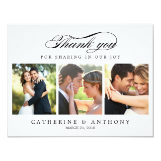 Einfach elegantes Hochzeits-Foto danken Ihnen, 10,8 X 14 Cm Einladungskarte