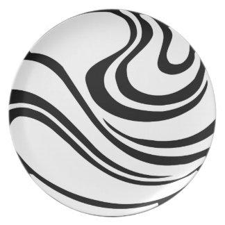 Einfache abstrakte Melamin-Schwarzweiss-Platte Teller
