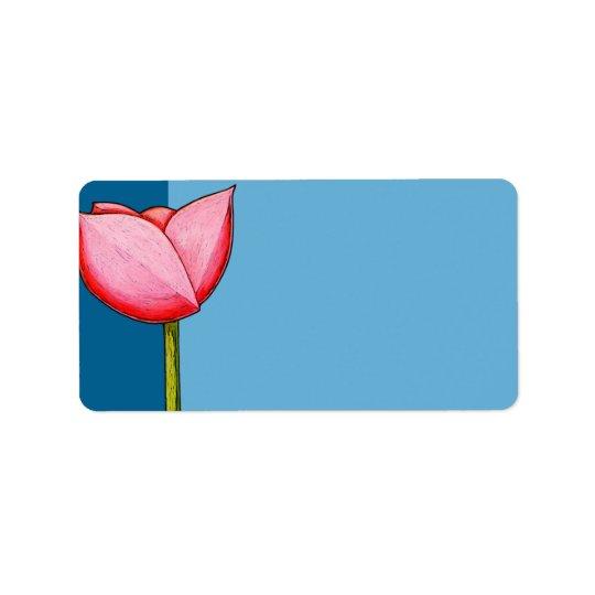 Einfache Blumen-blaues Adressen-Etikett Adressaufkleber