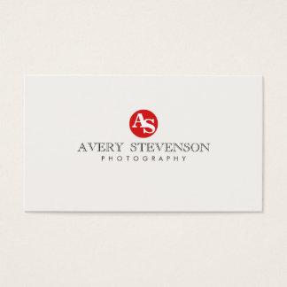 Einfache coole angesagte rote mit Monogramm Visitenkarte