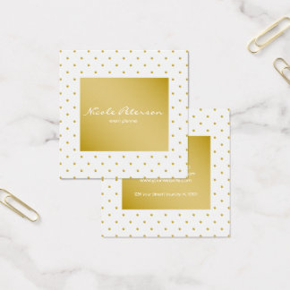 einfache einfache elegante weißes GoldTupfen Quadratische Visitenkarte