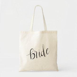 Einfache elegante Braut-Typografie-Hochzeit Tragetasche