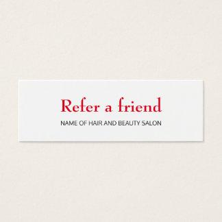 Einfache elegante saubere rote weiße Mini-Visitenkarten