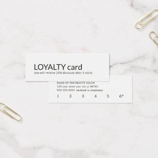 Einfache elegante Schwarz-weiße Loyalitäts-Karte Mini Visitenkarte