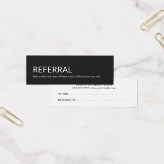 Einfache elegante Schwarzweiss-Empfehlungs-Karte Mini Visitenkarte