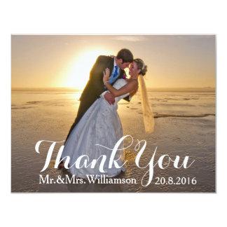 Einfache Foto-Hochzeit danken Ihnen 10,8 X 14 Cm Einladungskarte