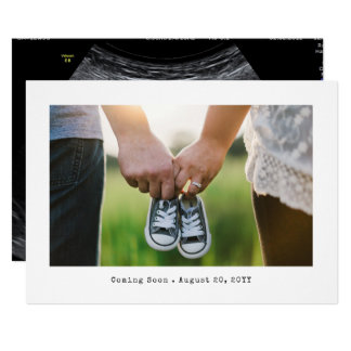 Einfache Foto-Schwangerschafts-Mitteilung Karte