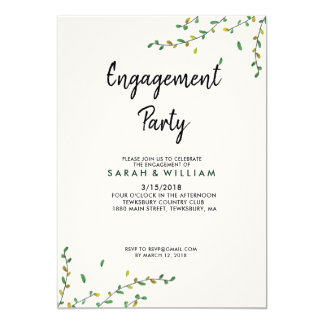 Einfache Grün-Verlobungs-Einladung Karte