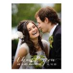 Einfache Handschrifts-Hochzeit danken Ihnen Postka