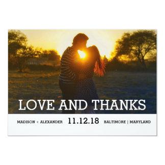 Einfache minimale Hochzeits-Liebe und Dank-Foto 12,7 X 17,8 Cm Einladungskarte