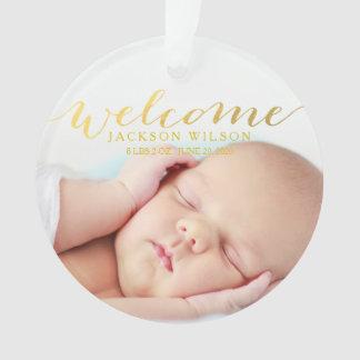 Einfache moderne Baby-Geburts-Foto-Mitteilung Ornament