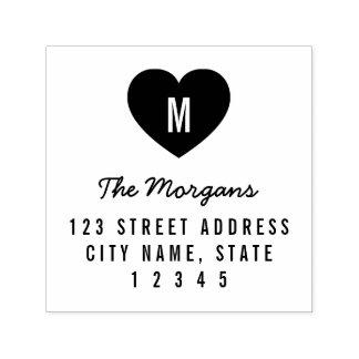 Einfache Monogramm-Herz-Familien-Zuhause-Adresse Permastempel