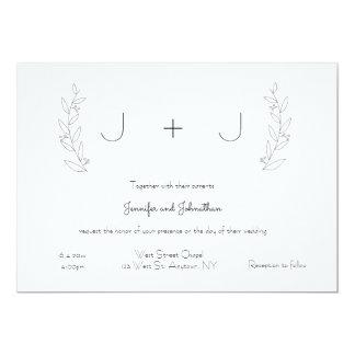Einfache Monogramm-Kranz-Hochzeitseinladungen Karte