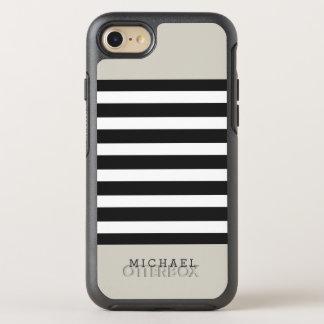 Einfache noble beige schwarze graue Leinenstreifen OtterBox Symmetry iPhone 7 Hülle