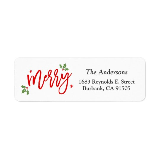 Einfache noble frohe Weihnacht-Hand schriftliches Rücksendeetiketten