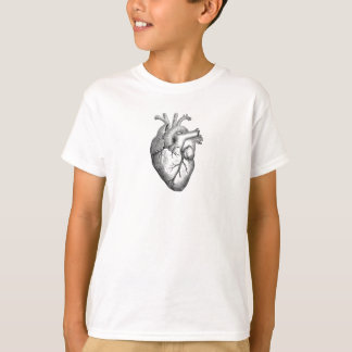 Einfache Schwarz-weiße Anatomie-Herz-Illustration T-Shirt