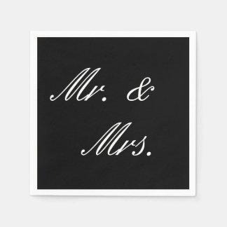 Einfache Schwarzweiss-Hochzeits-Servietten Serviette