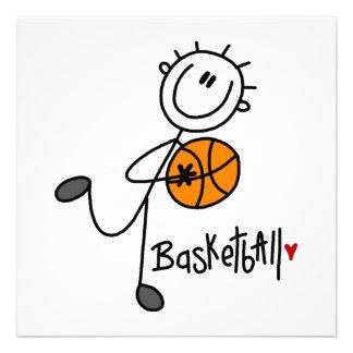 Einfache Strichmännchen-Basketball-T-Shirts und Ankündigungen