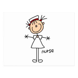 Einfache Strichmännchen-Krankenschwester-T - Postkarte
