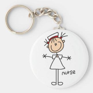 Einfache Strichmännchen-Krankenschwester-T - Schlüsselanhänger