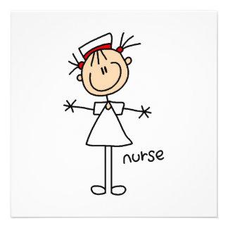 Einfache Strichmännchen-Krankenschwester-T-Shirts Individuelle Ankündigung