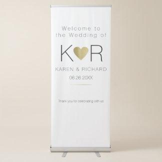 einfache u. grundlegende romantische Hochzeit Ausziehbarer Banner