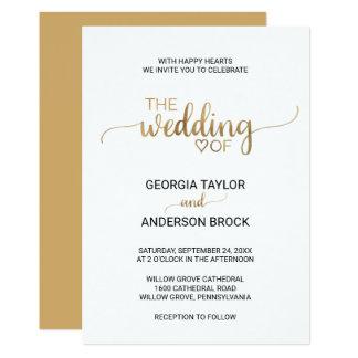Einfache und elegante GoldKalligraphie-Hochzeit Karte