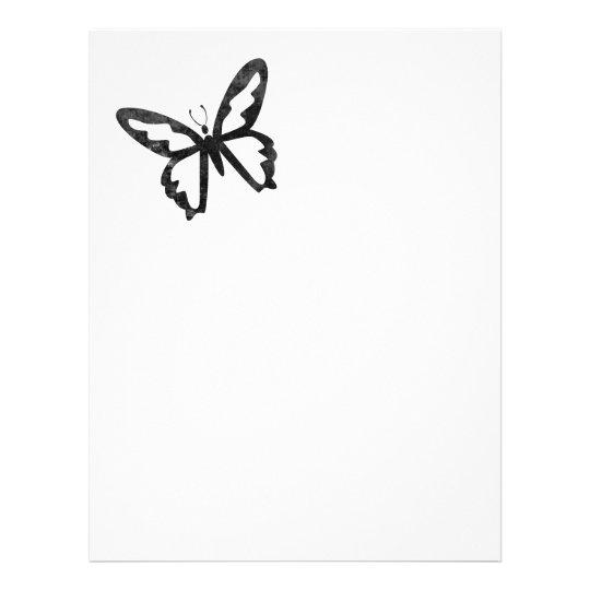 Einfacher Grungy schwarzer Schmetterling 21,6 X 27,9 Cm Flyer