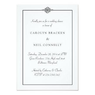 Einfacher nobler Schwarz-weißer Polterabend 12,7 X 17,8 Cm Einladungskarte
