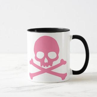 Einfacher rosa Totenkopf mit gekreuzter Knochen Tasse