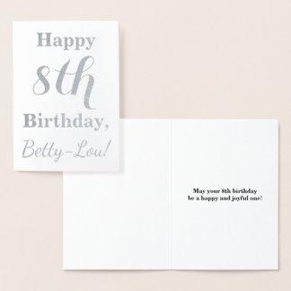 Einfacher silberne Folien-8. Geburtstag + Folienkarte