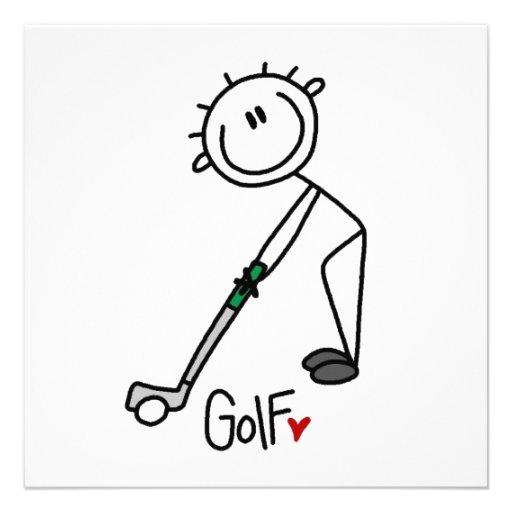 Einfacher Strichmännchen-Golfspieler Personalisierte Einladungen