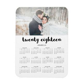 Einfacher Trendy Typografie-Foto-Kalender 2018 Magnet