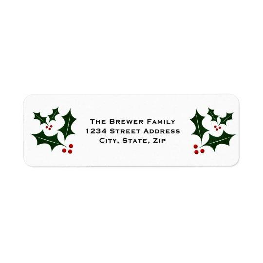 Einfaches grünes Stechpalmen-Weihnachten Rücksendeetikett