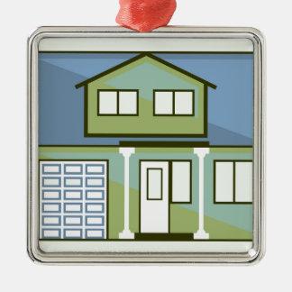 Einfaches Haus Quadratisches Silberfarbenes Ornament