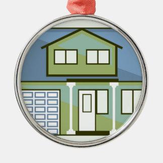 Einfaches Haus Rundes Silberfarbenes Ornament