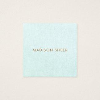 Einfaches, helles Türkis-Blau, stilvoller Quadratische Visitenkarte