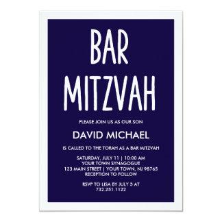 Einfaches modernes Typografie-Bar Mitzvah des 12,7 X 17,8 Cm Einladungskarte